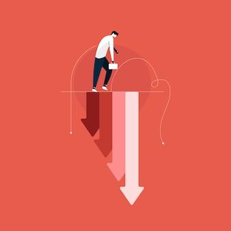 Smutny biznesmen z falling wykres, straty biznesowe, kryzys gospodarczy, krach na giełdzie