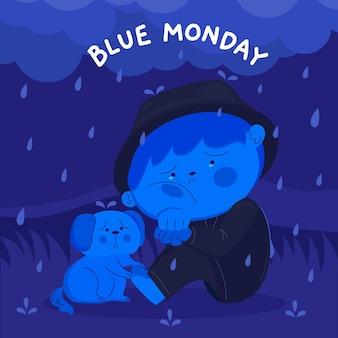 Smutny charakter w niebieski poniedziałek