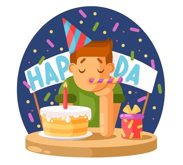 Smutny chłopak i tort urodzinowy.
