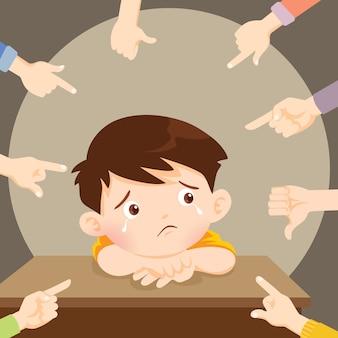 Smutny chłopiec płacze otoczony wskazującymi rękami szydzącymi z niego