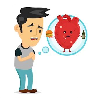 Smutny chory młody człowiek z charakterem problem choroby serca.