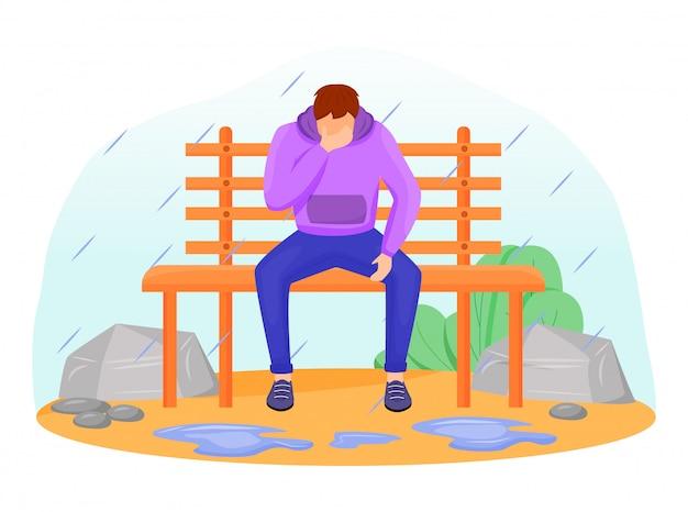 Smutny człowiek ilustracja kolor płaski. kaukaski mężczyzna siedzi na ławce w deszczu. sezonowa melancholia. wilgotna pogoda. przygnębiony facet w bluzie bez twarzy postać z kreskówki z drzewami na tle