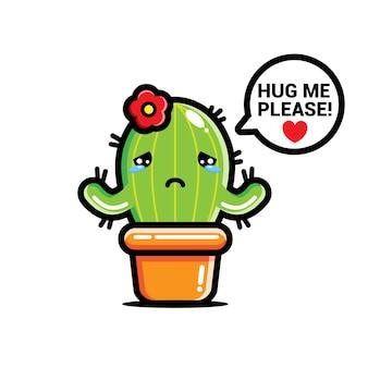Smutny kaktus chce być przytulany