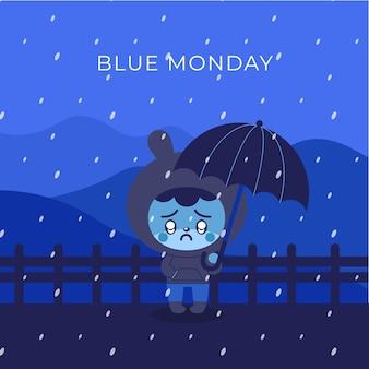 Smutny króliczek w niebieski poniedziałek