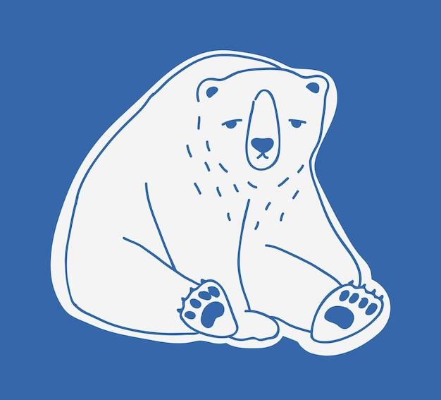Smutny ładny dorosły niedźwiedź polarny ręcznie rysowane z konturami. doodle rysunek siedzący niezadowolony samotny kreskówka arktyczne mięsożerne zwierzę na białym tle na niebieskim tle. ilustracja wektorowa monochromatyczne.