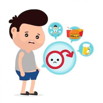 Smutny mężczyzna z zaburzeniami erekcji patrzy na majtki i przyczyny impotencji