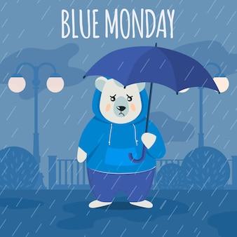 Smutny niedźwiedź polarny w niebieski poniedziałek