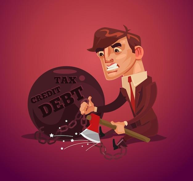 Smutny nieszczęśliwy biznesmen charakter pracownik biurowy próbuje uciec od długu z siekierą.