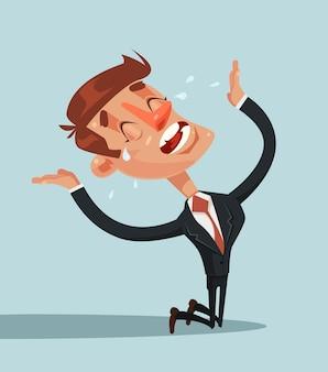 Smutny nieszczęśliwy krzyczący i płaczący biznesmen charakter