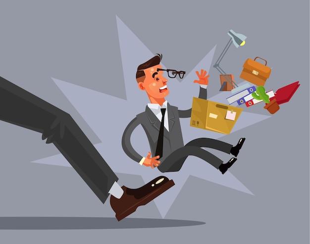 Smutny nieszczęśliwy luźny zwolniony charakter człowieka z pracy. ilustracja kreskówka płaski wektor