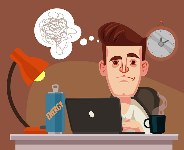 Smutny nieszczęśliwy pracownik biurowy mężczyzna charakter ciężko pracujący późno ilustracja kreskówka