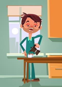 Smutny nieszczęśliwy zmęczony pracownik biurowy mężczyzna biznesmen charakter robi i pije poranną kawę tata w poniedziałek rano płaska ilustracja koncepcja kreskówka