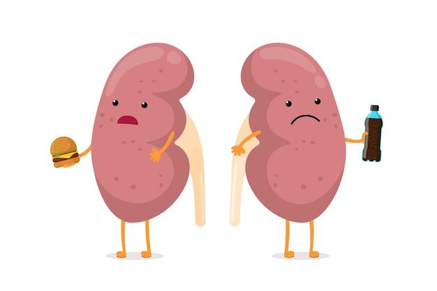 Smutny niezdrowy chory charakter nerek trzymać w ręku butelkę napoju gazowanego fast food i burger. anatomia człowieka układ moczowo-płciowy wewnętrzny chory narząd. ilustracja wektorowa uzależnienia od złego odżywiania