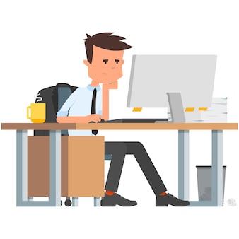 Smutny pracownik biurowy w wektorze komputera na białym tle