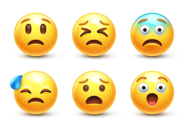 Smutny Stylizowany Emoji 3d Premium Wektorów