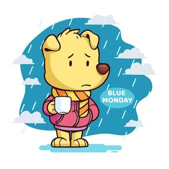 Smutny szczeniak w niebieski poniedziałek