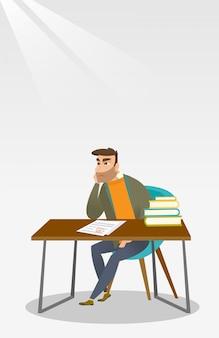 Smutny uczeń patrzeje próbnego papier z złą oceną.