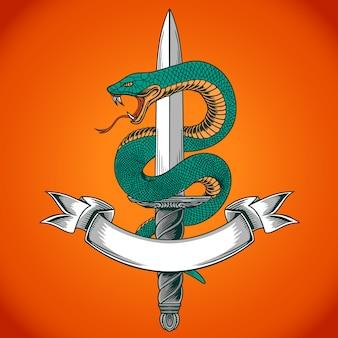 Snake sword vector
