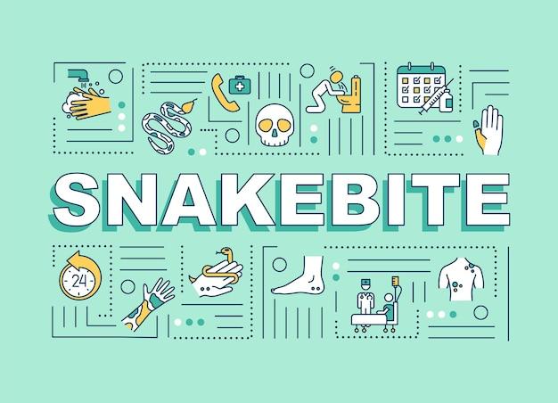 Snakebite pierwsza pomoc i leki, baner pojęć słowo objaw reakcji alergicznej. infografiki z liniowymi ikonami na niebieskim tle. typografia na białym tle. ilustracja wektorowa konturu rgb