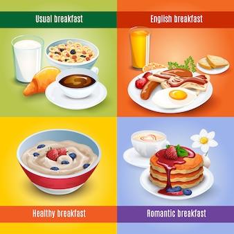 Śniadanie 4 płaskie ikony kwadratowe połączenie