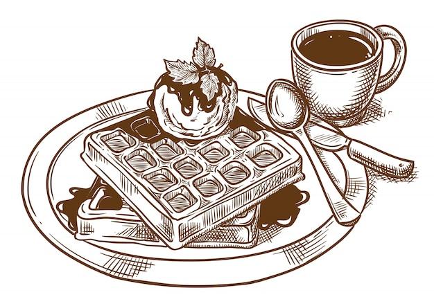 Śniadanie. belgijskie gofry z lodami i kawą.
