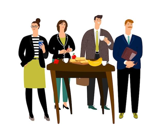 Śniadanie biznesowe. płascy koledzy jedzą śniadanie w pracy. ilustracja wektorowa przerwa na kawę