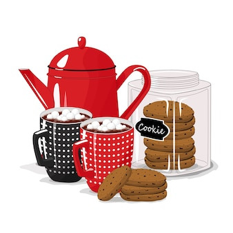 Śniadanie. czajniczek z filiżankami i ciasteczkami na na białym tle. dzień dobry.