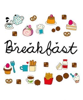 Śniadanie doodle wektor