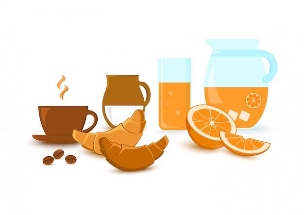 Śniadanie. filiżanka kawy, mleko, rogaliki, sok pomarańczowy i owoce cytrusowe.