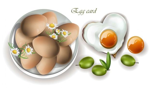 Śniadanie jaj wektor realistyczne. menu, strona, szablon makiety