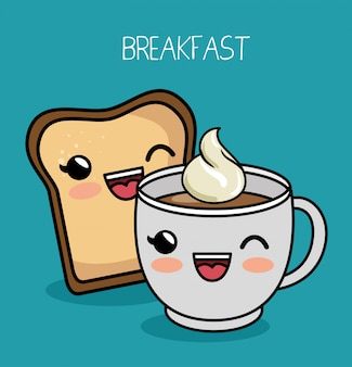 Śniadanie kawaii ładny kubek kawy chleb