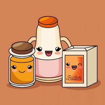 Śniadanie kawaii słodkie sok z masła miód