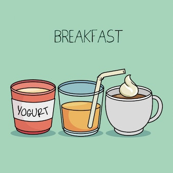 Śniadanie koncepcja jogurt sok kawa