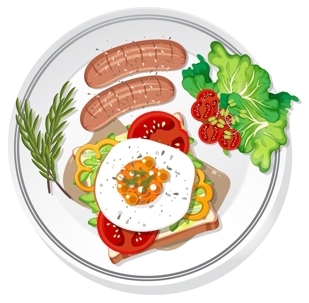 Śniadanie na talerzu na białym tle