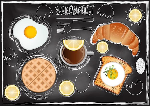 Śniadanie z chalkboard tłem w ręka remisu stylu