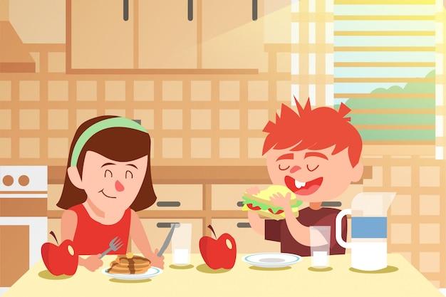 Śniadanie z ilustracją najlepszego przyjaciela