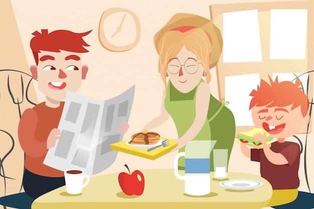 Śniadanie z ilustracją rodziny
