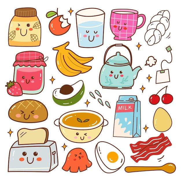 Śniadanie żywności kawaii doodle zestaw ilustracji wektorowych