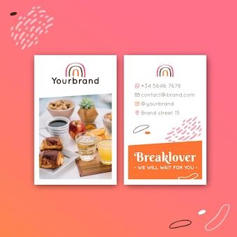 Śniadaniowa wizytówka restauracji dwustronna