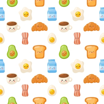 Śniadaniowe jedzenie znaków ikony ustawiają bezszwowego wzór odizolowywającego na białym tle.