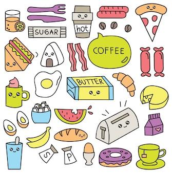 Śniadaniowego jedzenia doodle ustalona wektorowa ilustracja