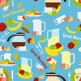Śniadaniowego ranku elementów bezszwowy wzór