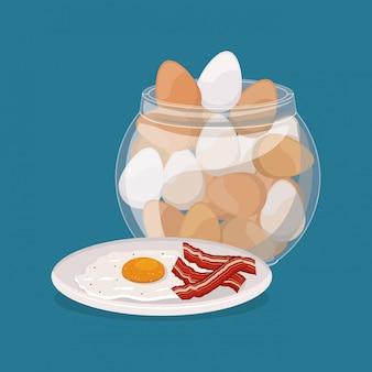 Śniadaniowi jajka i bekonowy projekt, karmowego posiłku świeżego produktu naturalna targowa premia i kulinarna tematu wektoru ilustracja