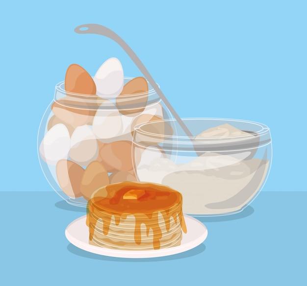 Śniadaniowi jajka i bliny projektują, karmowego posiłku świeżego produktu naturalna targowa premia i kulinarna tematu wektoru ilustracja