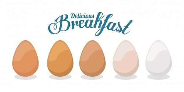 Śniadaniowi jajka projektują, karmowego posiłku świeżego produktu naturalna targowa premia i kulinarna tematu wektoru ilustracja