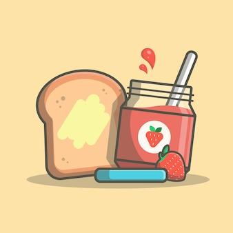 Śniadaniowy czas z chlebem i truskawkowym dżem ikony ilustracją. koncepcja na białym tle menu śniadaniowe