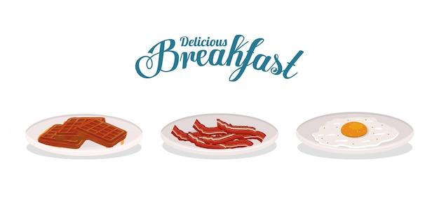 Śniadaniowy gofrowy jajko i bekonowy projekt, karmowego posiłku świeżego produktu naturalna targowa premia i kulinarny tematu wektoru ilustracja