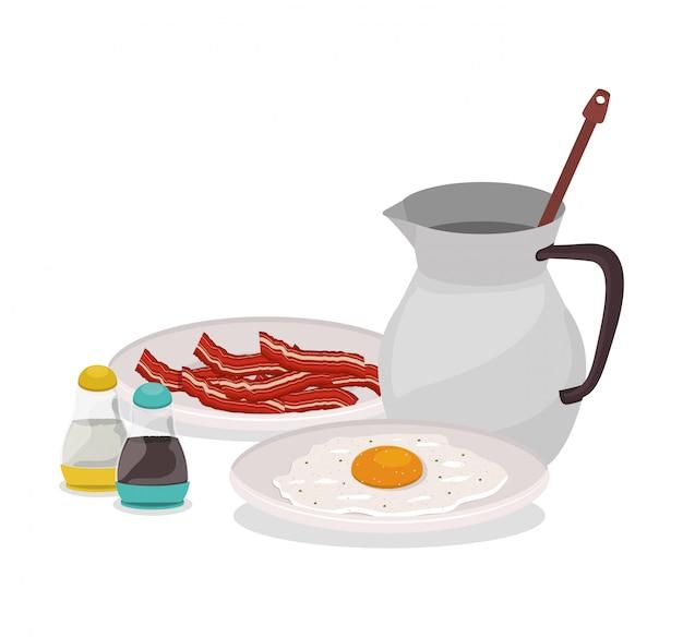 Śniadaniowy jajeczny bekon i czekoladowy projekt, karmowego posiłku świeżego produktu naturalna targowa premia i kulinarna tematu wektoru ilustracja