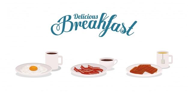 Śniadaniowy jajeczny bekon i gofra projekt, karmowego posiłku świeżego produktu naturalna targowa premia i kulinarna tematu wektoru ilustracja