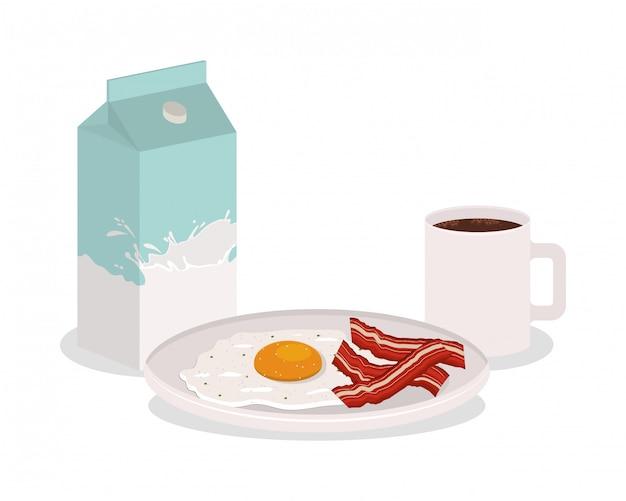Śniadaniowy jajeczny bekonowy projekt, karmowego posiłku świeżego produktu naturalna targowa premia i kulinarna tematu wektoru ilustracja